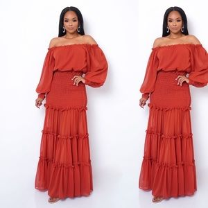 Burnt orange maxi dress